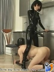 Brutal bitch stuffs her huge rubber ramrod into submissive masked lad�s ass