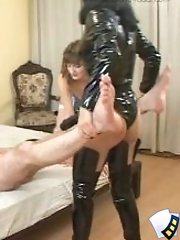 Two ladies drilling young boy�s ass with monstrous rubber strap-on toys
