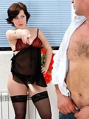 Kinky guy ready for strap-on invasion by heated chick right in the bathroom